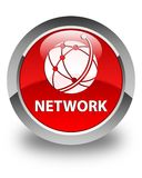 Netwerk (globaal netwerkpictogram) glanzende rode ronde knoop Royalty-vrije Stock Afbeeldingen