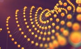 Netwerk of netto met lijnen en van geometricsvormen detail 3d illustrat Stock Afbeeldingen
