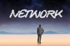 Netwerk tegen rustig landschap Stock Afbeelding