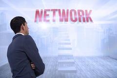 Netwerk tegen stadsscène in een ruimte Royalty-vrije Stock Afbeelding