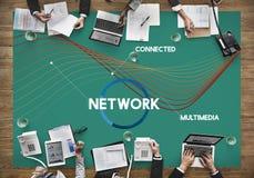 Netwerk van het Communicatie het concept Verbindingsweb Stock Fotografie