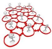 Netwerk van Mensen - Tekening van Cirkels en Pijlen royalty-vrije illustratie
