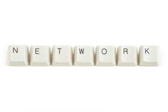 Netwerk van verspreide toetsenbordsleutels op wit Royalty-vrije Stock Foto