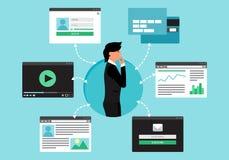 Netwerk van Web het Virtuele Socail Stock Afbeelding