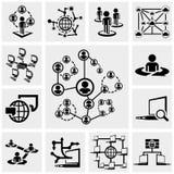 Netwerk vectordiepictogrammen op grijs worden geplaatst Royalty-vrije Stock Foto