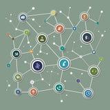 Netwerkachtergrond met knopen en sociale media Stock Foto's