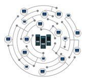 Netwerkconcept op witte achtergrond wordt geïsoleerd die stock illustratie