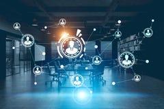 Netwerkhologram in een futuristisch bureau Royalty-vrije Stock Foto's
