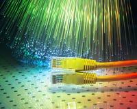 Netwerkkabel met high-tech technologie Stock Afbeelding