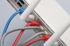 Netwerkkabels met de router worden verbonden die Netwerkmededelingen stock foto's