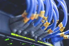 netwerkkabels in netwerkschakelaars worden verbonden - Data Center Conce die royalty-vrije stock afbeeldingen