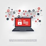Netwerkkwetsbaarheid, Gesloten Apparaat, Gecodeerde Dossiers, Verloren Documenten, Ransomware-Aanval - Virus, Malware, Fraude, Sp Royalty-vrije Stock Foto