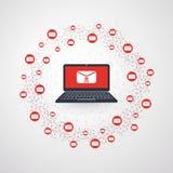 Netwerkkwetsbaarheid - Malware-Besmetting per E-mail - Virus, Ransomware, Fraude, Spam, Phishing, E-mail Scam, Hakkeraanval stock illustratie