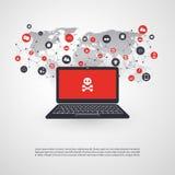 Netwerkkwetsbaarheid - Virus, Malware, Ransomware, Fraude, Spam, Phishing, E-mail Scam, Hakkeraanval - IT VeiligheidsConceptontwe Stock Foto's