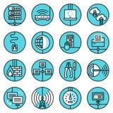 Netwerkpictogrammen geplaatst blauwe lijn Stock Afbeeldingen