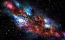 Netwerkprojecties in ruimte Stock Afbeeldingen