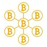Netwerkregeling bitcoin, databasepictogram Vector vector illustratie