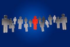 Netwerkverbinding met rode mensen in het midden - 3D renderin Royalty-vrije Stock Fotografie