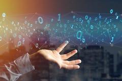 Netwerkverbinding van gegevens met 0 en 1 3d aantal - geef terug Stock Foto