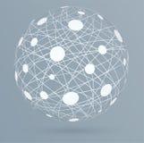 Netwerkverbindingen met cirkels, globale digitale verbindingen Stock Afbeeldingen