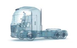 Netwerkvrachtwagen op wit Stock Fotografie