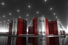 Network 14. Rendered red and silver computer-like objects in a shiny reflective room