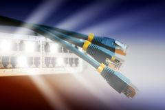 Network. Bright light beams from network switch Royalty Free Stock Photography