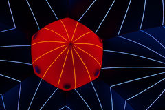 Network. Illumination effect on the roof of inflatable tent Royalty Free Stock Photography