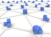 Network. Blue cubes as nodes of distributed network Royalty Free Stock Photos