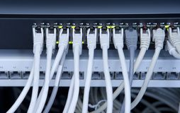 Network. With many  cable in a data center Royalty Free Stock Photos