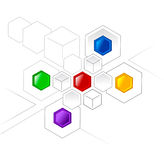 Network. Connected color hexagons and cubes for various projects