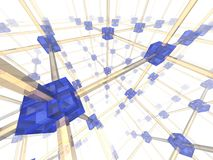 Network. Of connected blue nodes. 3d illustration Royalty Free Stock Image