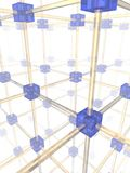 Network. Of connected blue nodes. 3d illustration Royalty Free Stock Photo