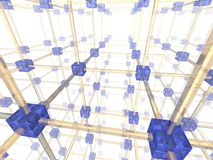 Network. Of connected blue nodes. 3d illustration Stock Image
