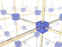 Network. Of connected blue nodes. 3d illustration Stock Photos