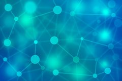 Network abstract background. Neural, social network Blockchain network science connection structure concept. Virtual teal background with particle molecule Stock Images