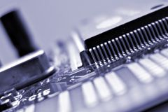 Network adapter card. Macro. Chip close up stock image