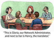 Network Administrator. This is Gloria, our Network Administrator, and next to her is Henry, the translator Royalty Free Stock Photography