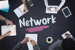 Network against blackboard Royalty Free Stock Photo