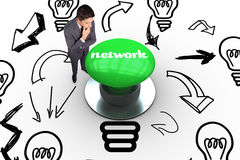 Network against digitally generated green push button Stock Photos
