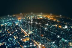 Free Network And Connection Technology Night City Background At Business Center Bangkok Thailand. Wireless Skyline Connection With Royalty Free Stock Images - 139053909