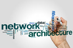 Network architecture word cloud. Concept on grey background Stock Photos
