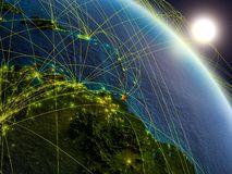 Network around Caribbean from space. Caribbean from space on realistic model of planet Earth with network. Concept of digital technology, connectivity and travel royalty free illustration