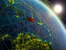 Network around Dominican Republic from space. Dominican Republic from space on realistic model of planet Earth with network. Concept of digital technology stock illustration