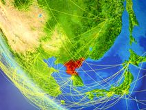 Network around North Korea from space. North Korea on planet Earth from space with network. Concept of international communication, technology and travel. 3D vector illustration