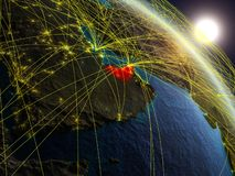 Network around United Arab Emirates from space. United Arab Emirates from space on realistic model of planet Earth with network. Concept of digital technology royalty free illustration