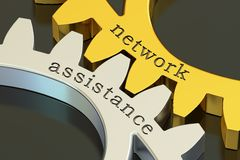 Network Assistance concept on the gearwheels, 3D rendering. Network Assistance concept on the gearwheels, 3D Royalty Free Stock Photos