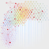 Network background. Digital background with colorful network dots and lines on white Royalty Free Stock Photography