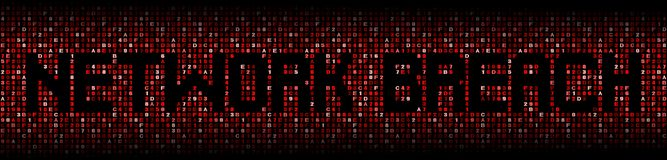 Network Breach text on hex illustration stock images