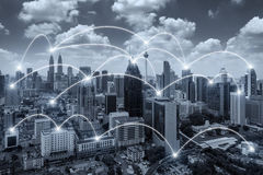 Network business conection system on Kuala Lumpur city. In background. Network business conection concept Royalty Free Stock Photo